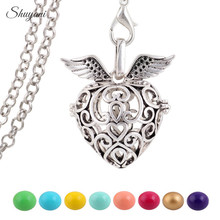 10PCS Silver Plated Mexican Bola Heart Cage Pendant Angel Bola Caller 16mm Sounds Harmony Ball for Pregnant Women Necklace