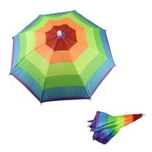 Foldable Novelty Umbrella Sun Hat Golf Fishing Camping Fancy Dress Multi Colour Send Random