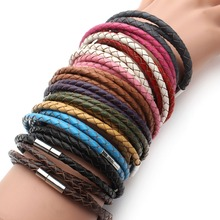 2017 New Fashion 100% Genuine Braided Leather Bracelet Men Women Magnetic Clasps Charm Bracelets Pulseras Male Female Jewelry(China)