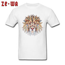 bde9f92c Tops & Tees Lion Print T Shirt Men Tribal Tattoo Art Designer Clothing 100%  Cotton White T-shirts Crew Neck Tshirt Street Style