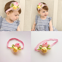 New Pink Yellow Rose Flower Hairbands Girls Headwear Children Headbands Elastic Hair Band Kids Hair Accessories(China)