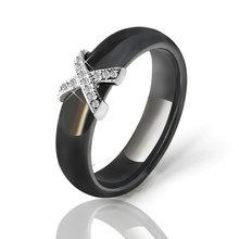 Fashion Women Ring 6 mm Wide X Cross Promise Black White Ceramic Ring For Women Men Big Size 6-12 Suitable For Wedding Jewelry