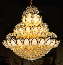 European Crystal Pendant Lights Lamp round the living room dining room air villa hotel lamp Lotus Temple re stairs LU71111 YM(China)