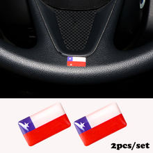 2pcs/set Steering wheel 3D Epoxy Car fit for Honda CR-V CRV 2012 2013 2014 Shield Flag Car Sticker Chile National Emblem