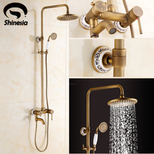 Free Shipping Wholesale And Retail Euro Fashion Antique brass Copper Shower Set Faucet Bathroom Mixer Faucet Tap Hot Sale