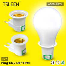 +Cheap+ E27 Bulb Lamp Male Socket To EU/US Plug Adapter Converter LED Light Socket Lamp Adapter Control Switch Base # TSLEEN