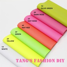 7PCS--High Quality DIY fluo color PU leathers/Synthetic leather/DIY fabric 20x22cm per pcs CAN CHOOSE COLOR(China)