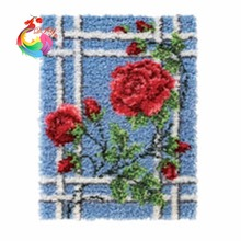 Latch hook rug kits shaggy rug Handmade carpet circle carpet crochet hooks clover tool kit in a suitcase cushion flower(China)