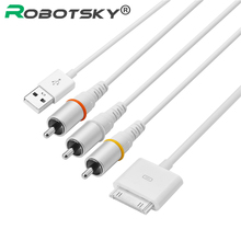 Robotsky 30 pin USB2.0 Dock Connector to TV RCA Video Composite AV Cable Adapter for Apple iPad 2 3 for iPhone 3GS 4 4S for iPod(China)