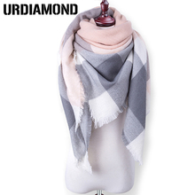 140*140cm Hot Sales Fashion Square Scarf Warm Winter Scarf Women Wool Plaid Blanket Scarf Pashmina Wrap Shawls and Scarves(China)