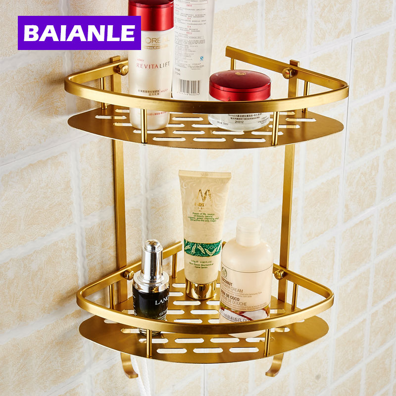 Free Shipping Wall Mounted  finish NEW Space Alumnium Bathroom Shower Shelf Basket Holder Building materials<br><br>Aliexpress