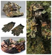NEW CS 3D Leaf Yowie sniper clothes 4pcs Ghillie Suit+ Jungle cap +Camouflage glove +scarf  for military Hunting