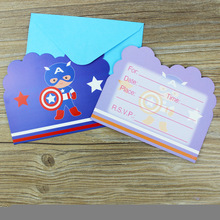 12pcs Cards and 12pcs Envelopes America Captain theme Invitation Card kids Birthday Party Decoration