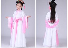 Chinese Traditional Dress For Kids Guzheng Stage  Performance Clothing Anicent  Hanfu Suits Fairy Girl Pink Purple Free Shipping