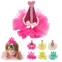 Lace Dog Hair Bows Crown Princess Puppy Hair Clip Decoration Pet Grooming Accessories Charm Hot Pink Yellow Green White