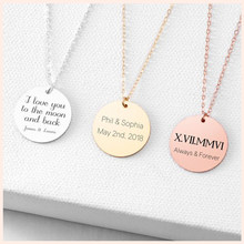 SG 925 sterling silver personalized disc initial custom necklace 100 languages I love you letter pendant necklace for women gift(China)