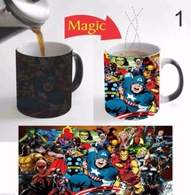 Avengers hulk iron man mugs coffee cups heating cup tea mugs heat transfer temperature color change cup mugen Magic travel mug