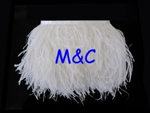 5yards/lot White colors Ostrich Feather Plumes Fringe trim 8-10cm Feather Boa Stripe for Party Clothing Accessories Craft