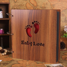 DIY Baby Shower Photos Book Birthday Photo Book Rustic Wedding Guest Books Hollow Wooden Black Papers