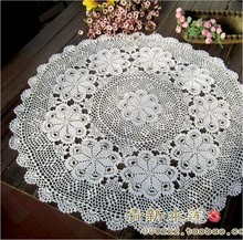 free shipping 2014 new  design cotton crochet lace  tea tablecloth round table cover for wedding towel overly with flowers home
