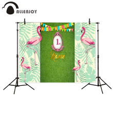 Allenjoy photography backdrop Green natural flag girl flamingo birthday new background photocall customize photo printer