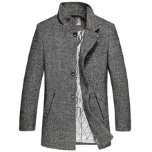 2016 New Men's Wool Coat Collar In The Long Winter Men's Thick Woolen Coat Coat Plus Size Grayish Black Male