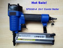 Promotion price on 2 in 1 combination air nailer stapler F5040-A pneumatic nailer stapler, straight nail and crown nail(China)