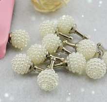 3pcs Fashion Style Elegant white series Ball Pearl Design Mobile Phone Ear Cap 3.5mm Dust Plug For Iphone For Samsung Dust Plug