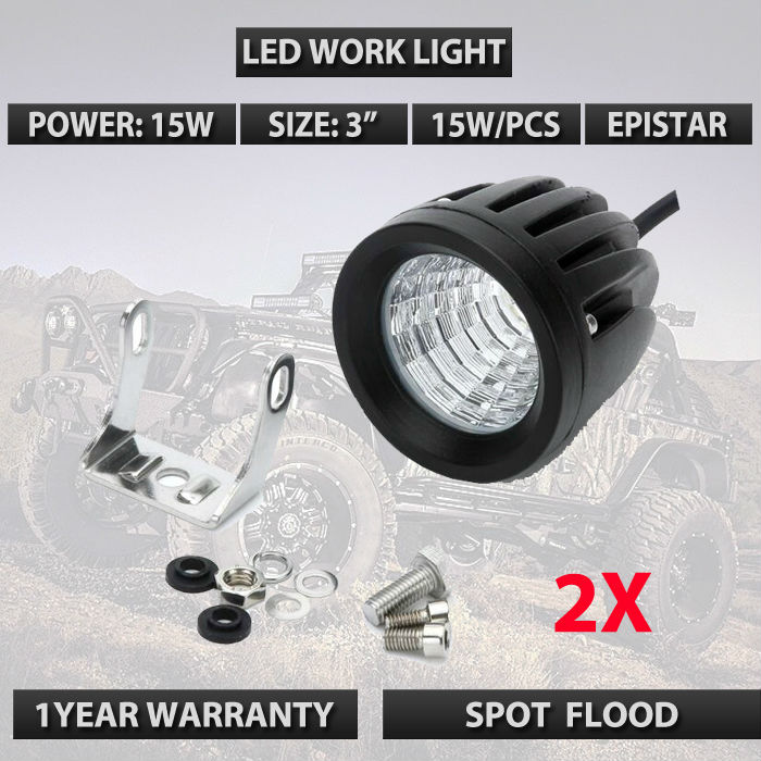 15w led cannon lights Spot FLood beam Round 15W Led work lights 12V 24V Led driving auxiliary lights for 4wd 4x4 wrangler tj 2pc<br>