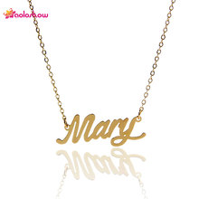 "AOLOSHOW Ladies Jewelry Gold color Name Letter Necklace "" Mary "" Stainless Steel Women Personalized NamePlate Necklace ,NL-2388"