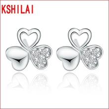 Silver clover earrings ladies fashion high quality jewelry lovely wild crystal jewelry manufacturers wholesale(China)