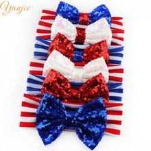 6pcs/lot Girls And Kids 4th of July Headbands,Large Sequin Bow Striped Headband,2017 Fourth Of July Hairbow Hair Accessories(China)