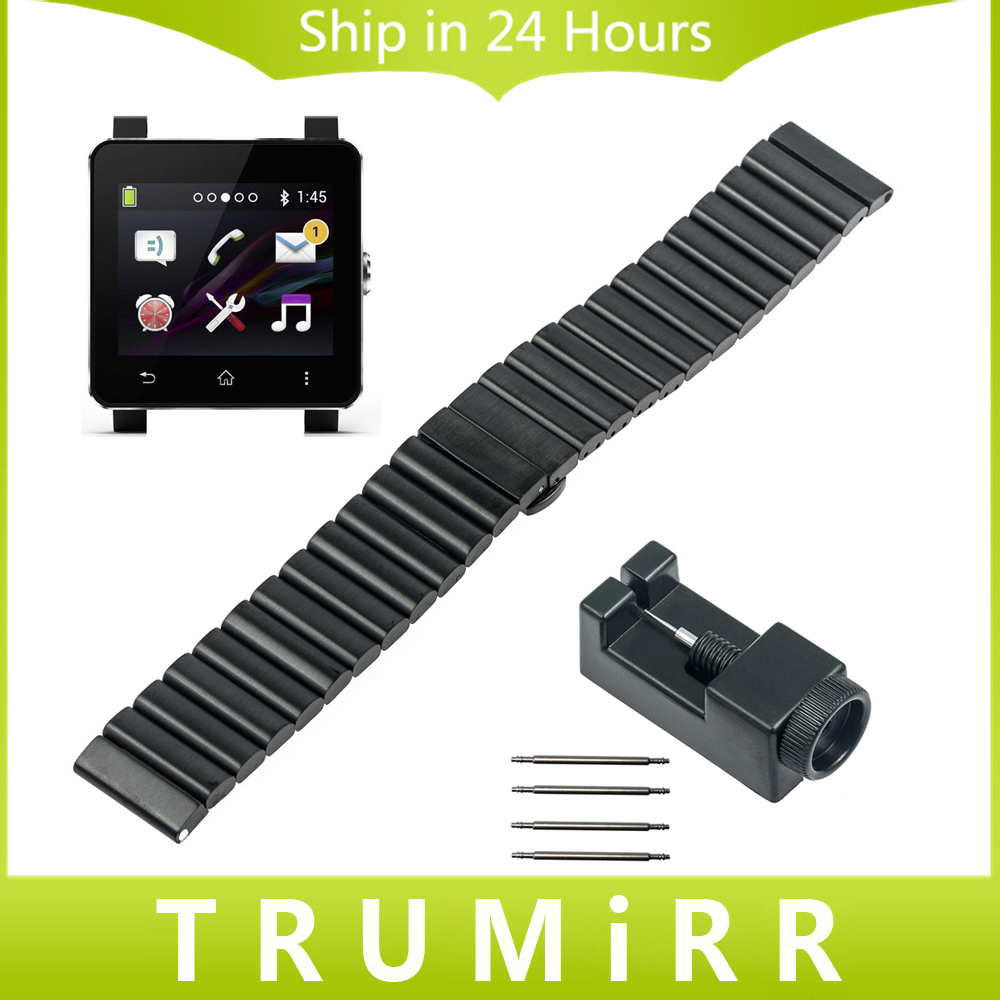 24mm Stainless Steel Watch Band for Sony Smartwatch 2 SW2 Replacement Strap Bracelet with Upgraded Link Removal Tool Spring Bar<br>