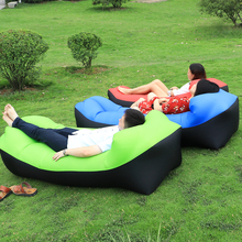 Fold lazy Lounger banana sleeping bag inflatable air Sofa with Carry Bag Beanbag air bed lounge chair for Summer Beach Fishing(China)