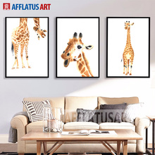 AFFLATUS Giraffe Nordic Poster Canvas Painting For Living Room Wall Art Print Poster Watercolor Wall Pictures Kids Room Decor(China)