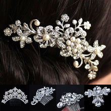 New Handmade Wedding Bridal Bride Hair Accessories Flower Crystal Imitated Pearls Hairpin Diamante Hair Comb Hairclip