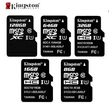 Kingston Class 10 карта памяти 8 ГБ 16 ГБ 32 ГБ 64 ГБ 128 ГБ Micro SD карта 32 г TF карта Microsd SDHC SDXC 48 м/с с адаптером и ридером(China)