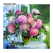 ZOOYA Diamond Embroidery Diamond Painting Colorful Peony Flower On Table Diamond Painting Cross Stitch Rhinestone Mosaic BJ1711