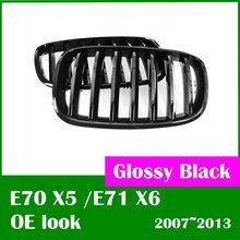 DASH Free shipping Glossy Black OE look for BMW X5 grill E70 E71 E72 X6 2007 2013(Taiwan)