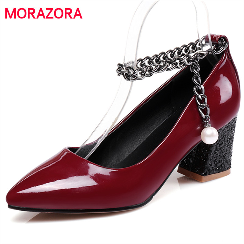 MORAZORA 2017 New sexy women high heel shoes 6cm pumps large size 32-48 shallow pointed toe wedding shoes four seasons<br>