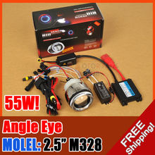 "hot sale AC/55W 2.5"" M328 MOTORCYCLE BIKE HID light BI-XENON PROJECTOR LENS KIT HALO ANGEL EYE for free shpping"