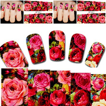 2sheets Hot Designs Charm Sexy Nail Art of Decorations Red Flower Full Cover Women Nails Nail Art Water Transfer Stickers XF1411