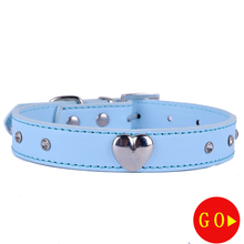 Personalized Pu Leather Dog Collar Fashion Heart Charm Crystal Studded Pet Products For Small Dogs(China)