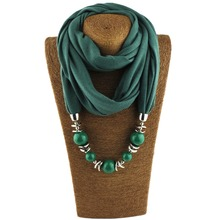 Fashion Ethnic Polyester Solid Collar Tassel Gorgeous beads pendants jewelry Necklace Jewelry Ring Scarf Women Shawl Scarves Hot(China)