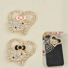 2pcs per lot Min.$15 (Mixed Order) Cell Phone Case DIY Charms Alloy Hello Kitty Cat Heart Decoration AC105