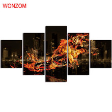 Flame Tiger Motorcycle Canvas Painting 5Pc Wall Art Poster Abstract Wall Pictures For Home Decor 2017 Tableau Peinture Sur Toile(China)