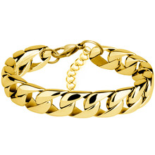 Miami Cuban Chain Bracelet Men Stainless Steel Gold Curb Chain Link Bracelet Biker Hip Hop Jewelry Party Gifts(China)
