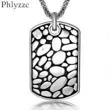 Mens Stainless Steel Bali Pebble GI Dog Tag Pendant Necklace Punk Boy Jewelry Collares Hombre Personality Bijoux Colar P002(China)