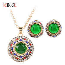 Turkish Gold Plated Jewelry Earrings Necklace Set For Women Bridal Jewelry Sets Mosaic Rhinestone Wedding Jewelry Sets