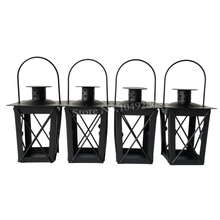 Cheap 4PCS/LOT Metal candle holder Small Iron lantern Black Color/White Color